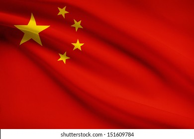 People's Republic of China flag blowing in the wind. Part of a series.