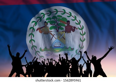 Peoples silhouette on flag and sky background, day of Belize, independence holiday