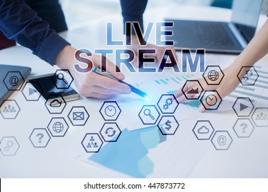 Peoples working in office. Live Stream concept.