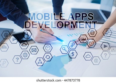 Peoples working in office. Mobile Apps Development concept.