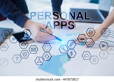 Peoples working in office. Personal apps concept.