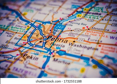 Peoria on USA travel map background