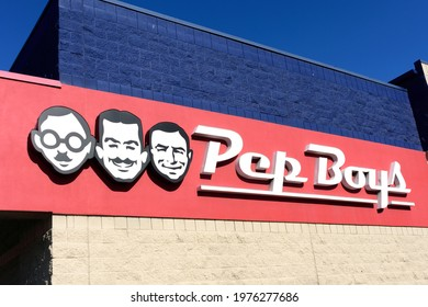 Pep Boys sign, logo on the facade of automotive aftermarket service chain store - Santa Clara, California, USA - 2021