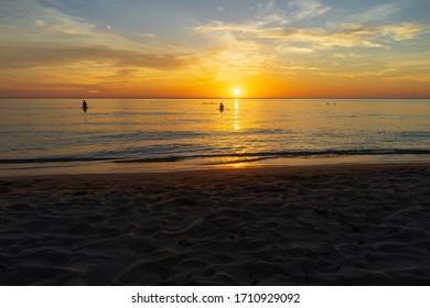 The peple at beach evening : Silhouette