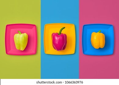 Pepper Fresh. Food Organic Vegan summertime Concept. Flat lay. Trendy fashion Style. Minimal Design Art. Hot Summer Vibes. Colorfull Vegetables on plate. Bright Green fashionable Color.