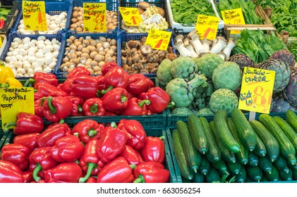 Pepper, gherkin and artichoke for sale at a market
