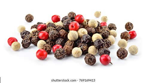 Pepper mix. Black, red and white peppercorns isolated on white. Full depth of field.