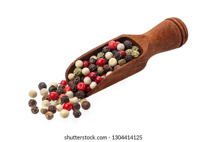 Pepper mix. Heap of black, red, white and allspice peppercorns in scoop isolated on white background