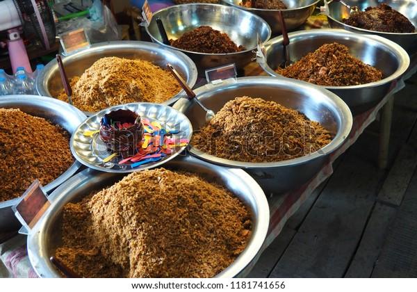 Pepper Sauce Thailand Aluminium Bowl Market Stock Photo (Edit Now