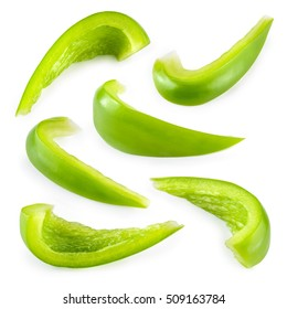Pepper. Slice of green paprika isolated. With clipping path. Collection.