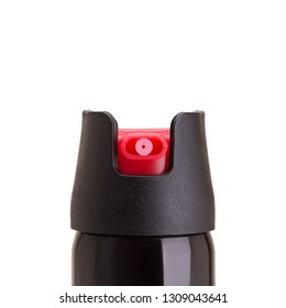 Pepper spray of self-defense close-up. Spray can for self defense on a white background.