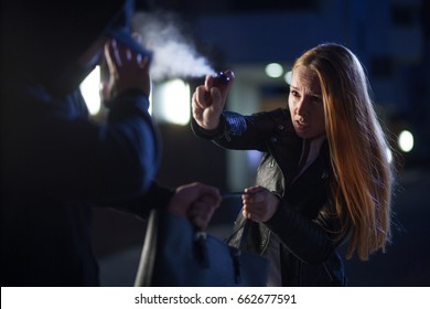 pepper spray or tear gas for self-defense by woman