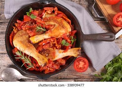 pepper and tomato chicken stew