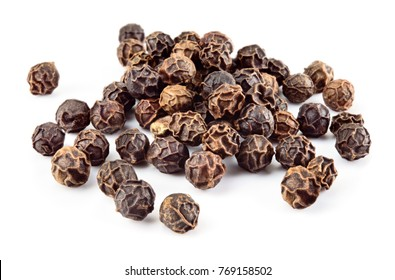 Peppercorn. Black pepper. Peppercorns isolated on white. Macro. Soft focus.
