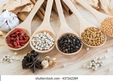 Peppercorn and various ingredient in wooden spoon