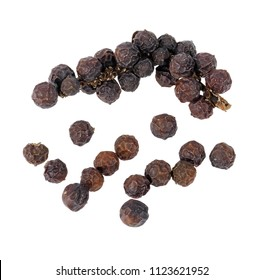 Peppercorns, Black pepper isolated on white background, Top view.