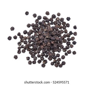 Peppercorns, Black peppercorn isolated on white background, Top view.
