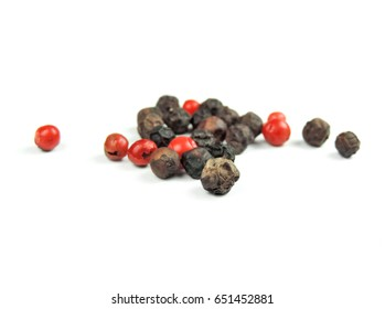 Peppercorns, cooking ingredients, isolated on white background.