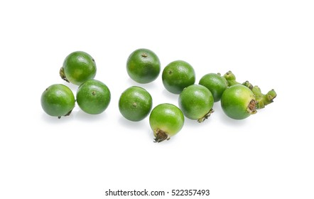 Peppercorns. Green pepper seeds isolated on a white background.