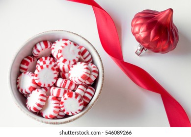 Peppermint Candy Discs with Red Ribbon and Ornament