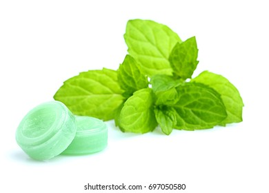 Peppermint candy isolated on white background.