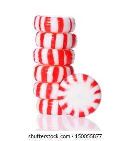 Peppermint candy tower isolated on white.