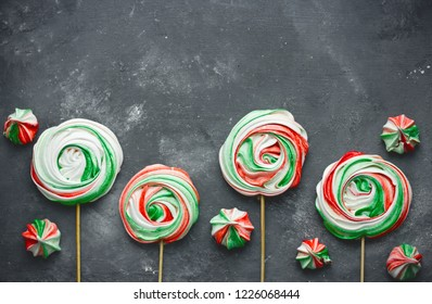 Peppermint meringue - homemade green red white meringues with peppermint taste, traditional Christmas and New Year treats for kids