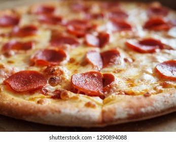 Pepperoni Appetizing Pizza Close Up, Shallow depth of field