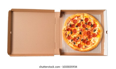 Pepperoni Pizza in a box close-up