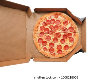 Pepperoni Pizza in Delivery Box Isolated on White Background Top View. Traditional Italian Pizza with Pepperoni Sausage, Mozzarella Cheese and Tomato Sauce. Original Recipe Pizza in Card Paper Box.