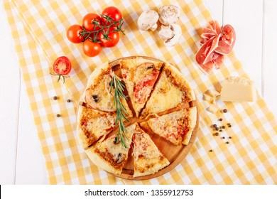 Pepperoni Pizza with Ham Tomato Cheese Flat Lay. Bacon and Mushroom Ingredient for Italian Meal in Poor Restaurant Above View. Stale American Food Slice Top Down Background