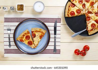 Pepperoni pizza homemade gourmet