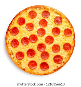 Pepperoni Pizza, isolated on white background