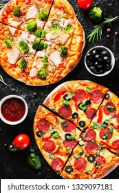 Pepperoni Pizza with Mozzarella cheese, salami, Tomatoes, olive, pepper, Spices and Fresh Basil and Pizza with cheese, salmon fish, broccoli, tomato sauce. two Italian pizza on dark background