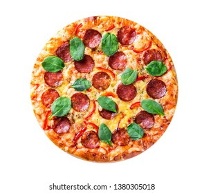 Pepperoni Pizza with Mozzarella cheese, salami, pepper, Spices and Fresh spinach. Italian pizza isolated on white background. with copy space. top view