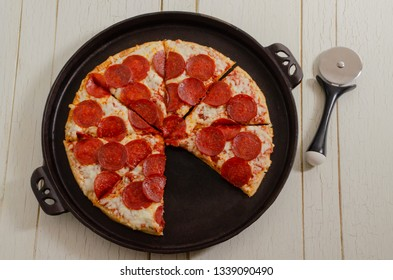 Pepperoni Pizza on a cast iron Pan