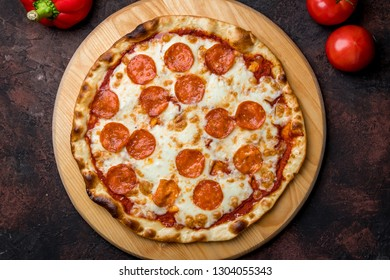Pepperoni pizza on plate