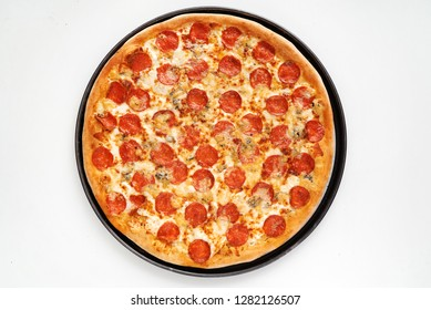 Pepperoni pizza on the white background