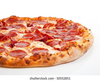 A Pepperoni pizza  on a white background