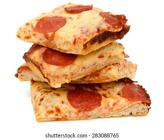 pepperoni pizza slices on white background