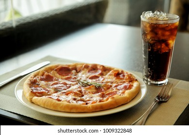 Pepperoni Pizza with Soda