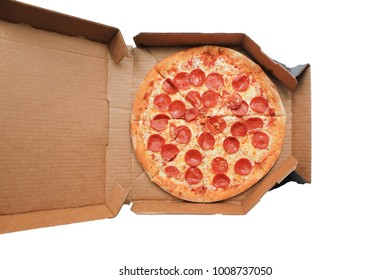 Pepperoni Pizza Top View in Delivery Box Isolated on White Background. Traditional Italian Pizza with Pepperoni Sausage, Mozzarella Cheese and Tomato Sauce. Original Recipe Pizza in Card Paper Box.