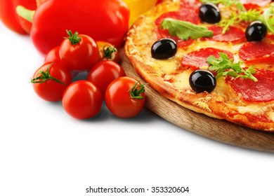 Pepperoni pizza with vegetables isolated on white