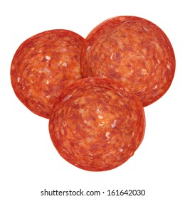 Pepperoni slices isolated on white with path, shot from above.