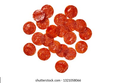Pepperoni Slices on white. Ingredient for pizza.