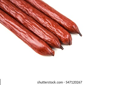 Pepperoni snack sticks isolated on a white background