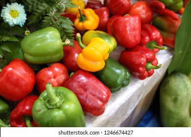 Peppers sold in the market.