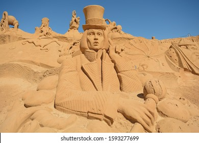 Pera.Algarve.Portugal.June 17th 2016.A sand sculpture shaped like Willy Wonka from Charlie and the chocolate factory is on display at the International sand sculpture festival in Pera in Portugal.