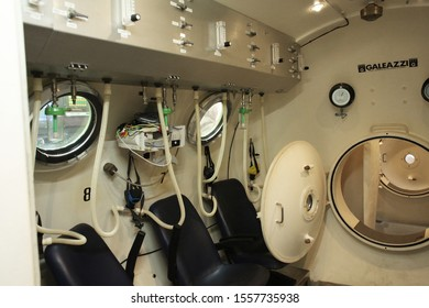 Perak, Malaysia- circa October 2019. The Hyperbaric Oxygen Therapy setup with at one of the treatment centre.photography of  the interior to exterior chamber and the Modern control unit.