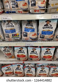 Perak, Malaysia. December 21,2018: Instant/Quick Quaker oats cereal in packages on displayed for sale at Tesco Sri Manjung Supermarket.
